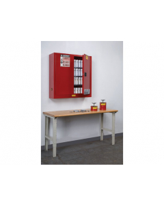 20 gallon Red Wall Mount Flammable Safety Cabinet, 2 Manual Close Doors - Sure-Grip® EX - #8934016
