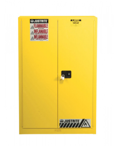 Sure-Grip® EX Combustibles Safety Cabinet for paint and ink, 60 gallon, 2 manual close doors, Yellow - #894510