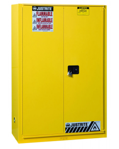 Sure-Grip® EX Combustibles Safety Cabinet for paint and ink, 60 gallon, 1 bi-fold door, Yellow - #894590