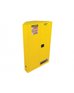 Sure-Grip® EX CORNER FLAMMABLE SAFETY CABINET, 45 gallon, 2 MANUAL-CLOSE DOORS, Yellow - #8946001
