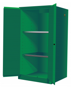 Sure-Grip® EX Pesticides Safety Cabinet, 60 gallon, 2 manual-close doors, Green - #896004