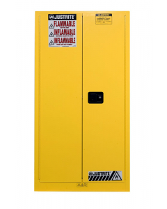 Sure-Grip® EX Vertical Drum Safety Cabinet and Drum Support, 55 gallon, 2 manual close doors, Yellow - #896200