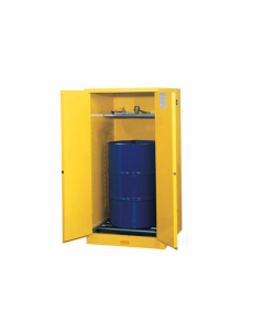 Sure-Grip® EX Vertical Drum Safety Cabinet and Drum Rollers, 55 gallon, 2 manual close doors, Yellow - #896260