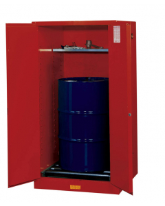 Sure-Grip® EX Vertical Drum Safety Cabinet and Drum Rollers, 55 gallon, 2 manual close doors, Red - #896261