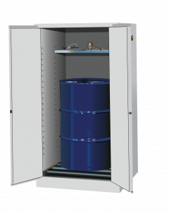 Sure-Grip® EX Vertical Drum Safety Cabinet and Drum Rollers, 55 gallon, 2 manual close doors, White - #896265