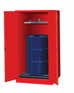 Sure-Grip® EX Vertical Drum Safety Cabinet and Drum Rollers, 55 gallon,  2 self-close doors, Red - #896271