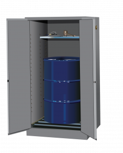 Sure-Grip® EX Vertical Drum Safety Cabinet and Drum Rollers,  55 gallon, 2 self-close doors, Gray - #896273