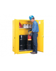 Sure-Grip® EX Vertical Drum Safety Cabinet and Drum Rollers, 60 gallon, 2 manual close doors, Yellow - #899060