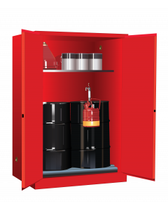 Sure-Grip® EX Vertical Drum Safety Cabinet and Drum Rollers, 60 gallon, 2 manual close doors, Red - #899061