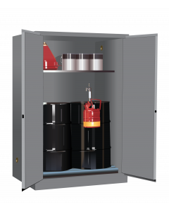 Sure-Grip® EX Vertical Drum Safety Cabinet and Drum Rollers, 60 gallon, 2 manual close doors, Gray - #899063