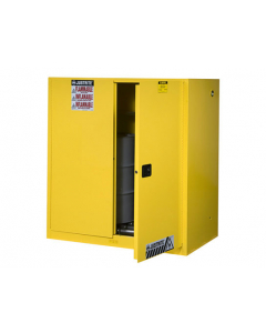 Sure-Grip® EX Vertical Drum Safety Cabinet and Drum Rollers, 60 gallon, 2 self-close doors, Yellow - #899070