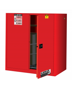 Sure-Grip® EX Vertical Drum Safety Cabinet and Drum Rollers, 60 gallon, 2 self-close doors, Red - #899071