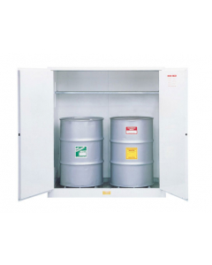 Sure-Grip® EX Flammable Waste Vertical Drum Safety Cabinet, Steel, 110 gallon,  2 manual close doors, White - #8991053