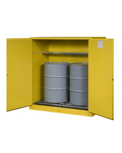 Sure-Grip® EX Vertical Drum Safety Cabinet and Drum Rollers, 110 gallon  2 manual close doors, Yellow - #899160