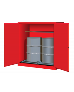 Sure-Grip® EX Vertical Drum Safety Cabinet and Drum Rollers, 110 gallon  2 manual close doors, Red - #899161