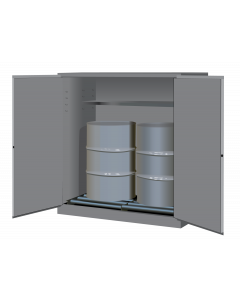 Sure-Grip® EX Vertical Drum Safety Cabinet and Drum Rollers, 110 gallon  2 manual close doors, Gray - #899163