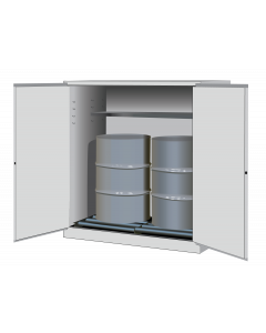 Sure-Grip® EX Vertical Drum Safety Cabinet and Drum Rollers, 110 gallon  2 manual close doors, White - #899165