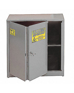 Flammable Liquid Safety Cabinet, 30 Gal., 1 Shelf, 2 Door, Self Close, Gray - #3010GRAY