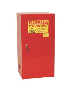 Space Saver Flammable Liquid Safety Cabinet, 16 Gal., 1 Shelf, 1 Door, Manual Close, Red - #1906RED