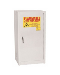 Space Saver Flammable Liquid Safety Cabinet, 16 Gal., 1 Shelf, 1 Door, Manual Close, White - #1906WHTE