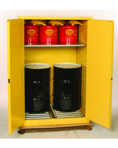 Haz-Mat Two Drum Vertical Safety Cabinet, 60 Gal., 1 Shelf, 2 Door, Manual Close, Yellow - #HAZ1992
