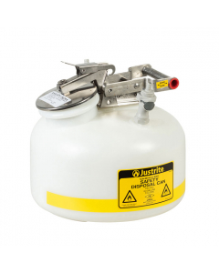 "Quick-Disconnect Disposal Safety Can, polypropylene fittings for 3/8"" tubing, 2 gal., poly, White. - #PP12752"