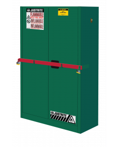 45 Gal Green High Security Flammables Safety Cabinet with Steel Bar, Cap, 2 Shelves, 2 Self-Close Doors- #SC29884P