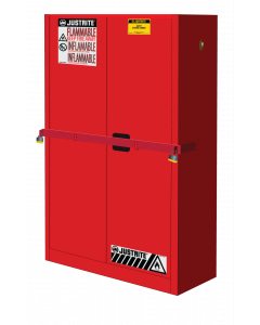 45 Gal Red High Security Flammables Safety Cabinet with Steel Bar, Cap, 2 Shelves, 2 Self-Close Doors- #SC29884R