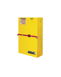 45 Gal Yellow High Security Flammables Safety Cabinet with Steel Bar, Cap, 2 Shelves, 2 Self-Close Doors- #SC29884Y