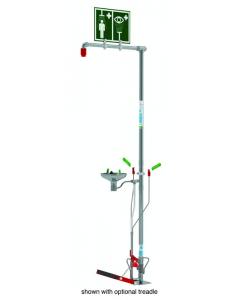 Hughes Combination Shower, Self-Draining, Floor Mount, Open Stainless Steel Bowl, Galvanized Pipe - #SD18G85G