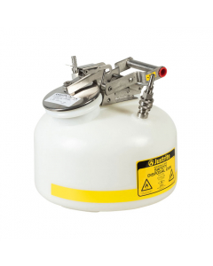 "Quick-Disconnect Disposal Safety Can, stainless steel fittings for 3/8"" tubing, 2 gal., poly, White. - #TF12752"