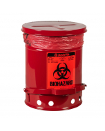 Biohazard Waste Can, 6 gallon, Foot-Operated Self-Closing Cover, Red - #05910R