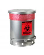Biohazard Waste Can, 10 Gallon, Foot-Operated Self-Closing SoundGard™ Cover, Silver