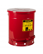 Oily Waste Can, 14 gallon, foot-operated self-closing SoundGard™ cover, Red