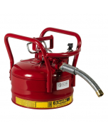 "2.5 Gallon Red D.O.T. Type II Safety Can with Roll Bars, Steel, 1"" Metal Hose - AccuFlow™- #7325130"