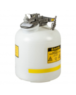 "Quick-Disconnect Disposal Safety Can with fittings for 3/8"" tubing, 5 gallon, polyethylene, White - #BY12755"