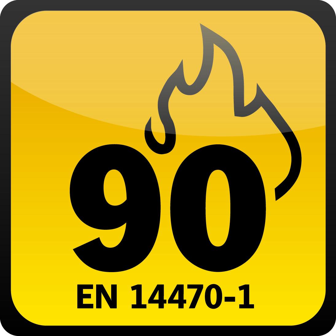 (90min) Complies with EN 14470-1 and EN 14727, GPSG (article 7, par 1)