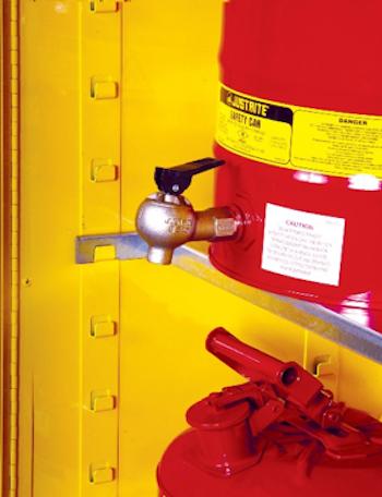 SpillSlope-dispensing-shelf-designed-for-faucet-containers