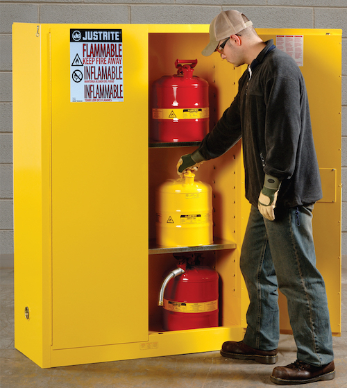 Self Close Safety Cabinet Protects Flammable Chemicals