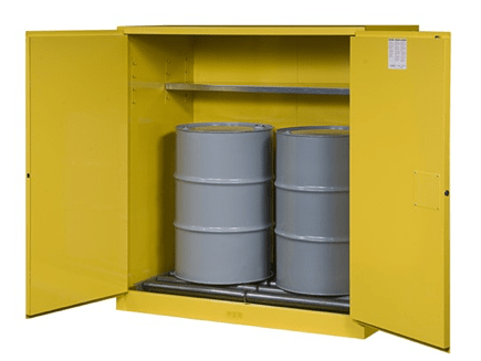 sure grip ex vertical drum safety cabinet and drum rollers 110 gallon 2 self close doors yellow model no 899170 - Paint Storage Cabinets